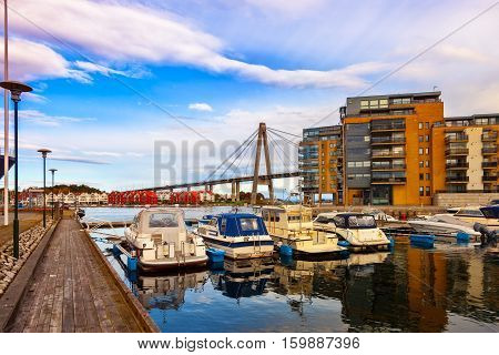 Sailboat marina with many moored sail yachts in Stavanger Norway.