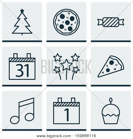 Set Of 9 Happy New Year Icons. Can Be Used For Web, Mobile, UI And Infographic Design. Includes Elements Such As Month, Candy, Agenda And More.