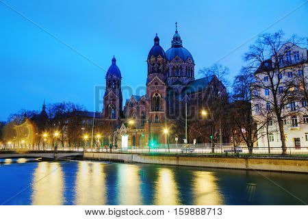 St. Luke Church (Lukaskirche) in Munich Germany at sunrise