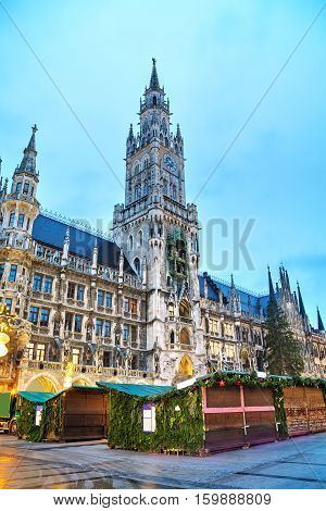 Overview of Marienplatz in Munich Germany at sunrise