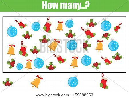 Counting educational children game kids activity worksheet. How many objects task christmas winter holidays theme. Learning mathematics numbers addition theme