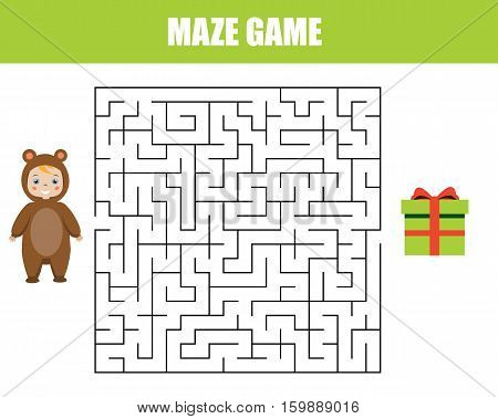 Maze children game: help the kid go through the labyrinth and find gift box