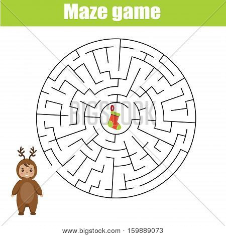 Maze children game: help the kid go through the labyrinth and find gift box. Christmas theme