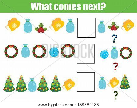 What comes next educational children game. Kids activity sheet, training logic, continue the row task. Christmas, New year holidays theme