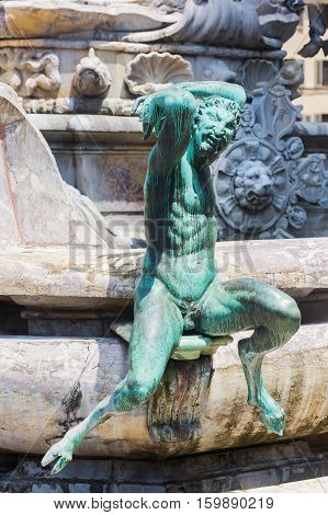 Sculptures At The Neptune Statue In Florence