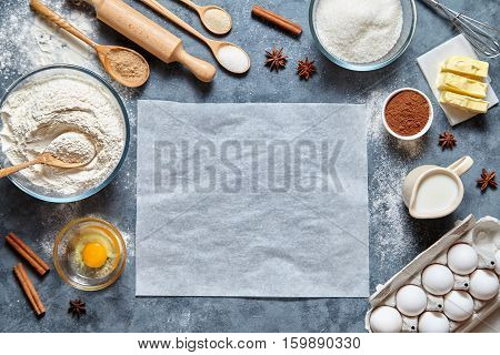 Dough preparation recipe homemade bread, pizza or pie ingridients, food flat lay on kitchen table background. Working with butter, milk, yeast, flour, eggs, sugar pastry or bakery cooking. Text space