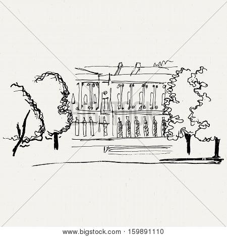 Landscape park with building. Ink traced illustration.