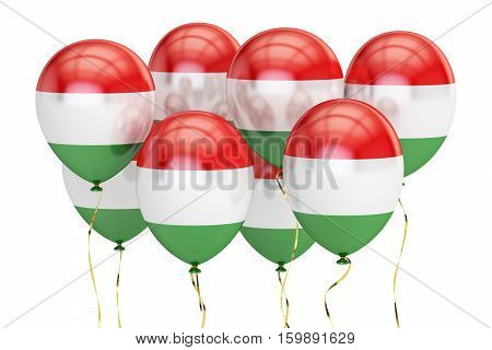 Balloons with flag of Hungary holyday concept. 3D rendering isolated on white background