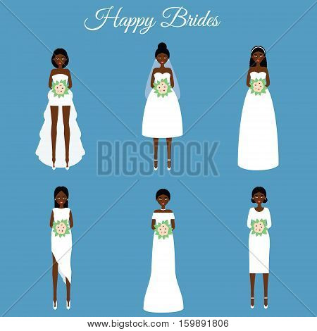 African american smiling happy brides holding flowers. Women in fashion wedding dresses. Vector illustration scrapbook stikers isolated design elements