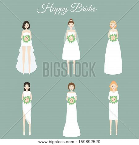 Smiling happy brides holding flowers. Women in fashion wedding dresses. Vector illustration scrapbook stikers isolated design elements