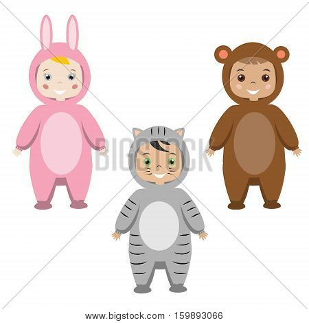 Kids party outfit. Cute smiling happy children in animal carnival costumes vector illustration. Isolated children in bunny cat and monkey clothes