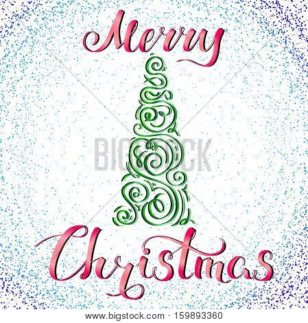 Merry Christmas, holiday vector illustration, hand-drawn postcard with felicitation and green stylized christmas tree, EPS 10