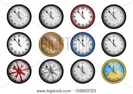 Pack of 12 realistic vintage clocks isolated on white. Vector illustration
