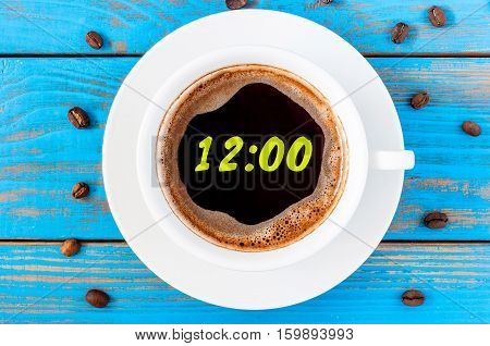 It's twelve o'clock already. Time to wake up and hurry. An image of a top viewed coffee cup with clock face showing 12:00 am or pm.