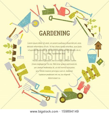 Vector gardening concept, template and flyer. Includes seamless gardening pattern.