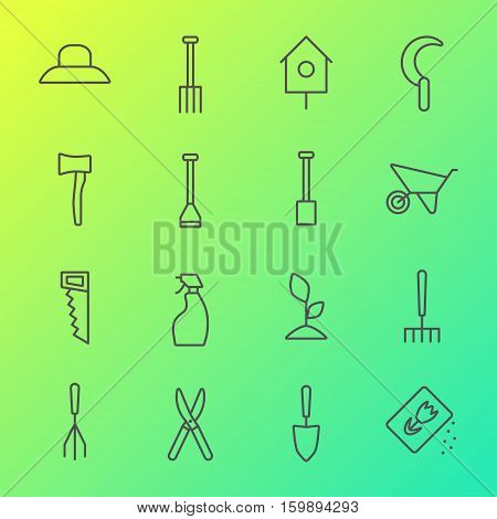 Vector big collection of gardening tools line icons.