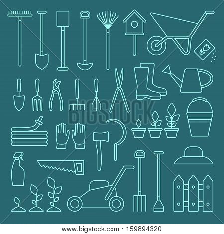 Vector big collection of line gardening tools icons. Rack pitchfork hose wheelbarrow watering can cutter fork lawn pruner secateurs shovel spade and more.