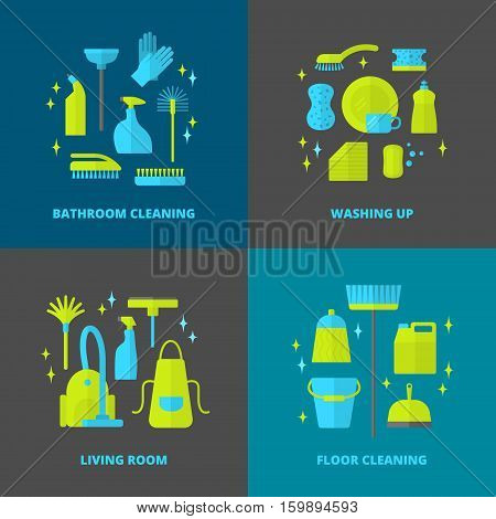 Vector trendy flat cleaning icon set. Vacuum cleaner. Protective gloves, plunger and spray bottle.  Wipe, squeegee and sponge. Bucket and mop. Brush, duster and many more.