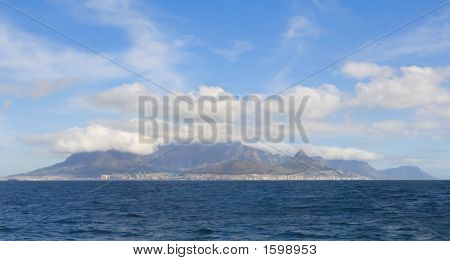 Capetown And Table Mountain From The Atlantic Ocean