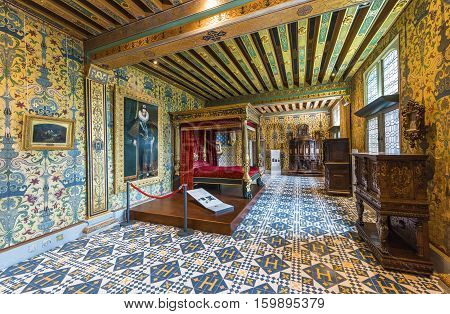 BLOIS,FRANCE-JUNE 2016: The King's chamber in Blois castle in Loire valley