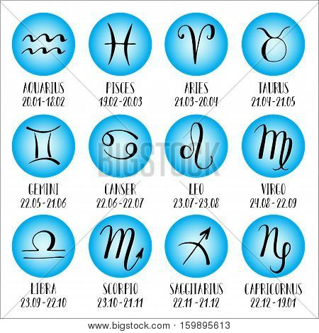 Signs of the zodiac with captions. Zodiac icons. Hand-drawn, lettering.