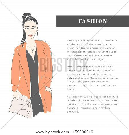 Vector hand drawn trendy fashion illustration. Young glamorous woman character. Concept, template or flyer.