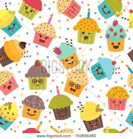 Birthday Background. Seamless Pattern With Cupcakes And Muffins. Cute Cartoon Characters, Emoji. Kaw