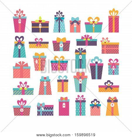 Birthday Surprise. Set Of Different Gift Boxes. Flat Design. Colorful Wrapped Gift Boxes. Christmas