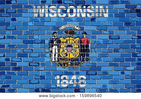 Flag of Wisconsin on a brick wall - Illustration,  The flag of the state of Wisconsin on brick textured background,  Wisconsin Flag in brick style