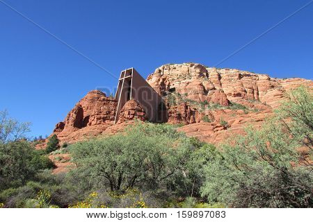 This is the Chapel of the Holy Cross which is a Roman Catholic chapel built into the buttes of Sedona, Arizona.