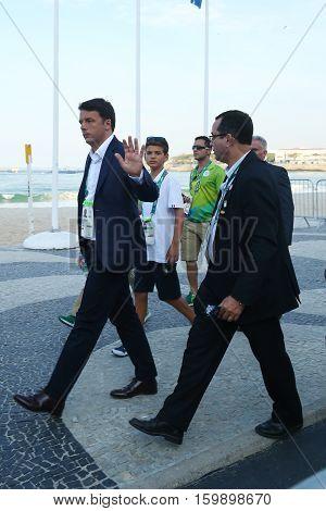 RIO DE JANEIRO, BRAZIL - AUGUST 6, 2016: Italian Prime  Minister Matteo Renzi attends Rio 2016 Olympics men's road race at Copacabana Beach in Rio de Janeiro