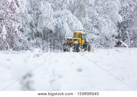 Winter Landscape With Machine (snow Plow At Work)