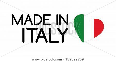 Made in Italy symbol with heart in the colors of the Italian tricolor