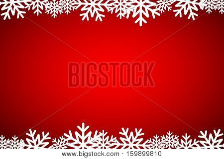 Christmas red background lined snowflakes simple holiday card