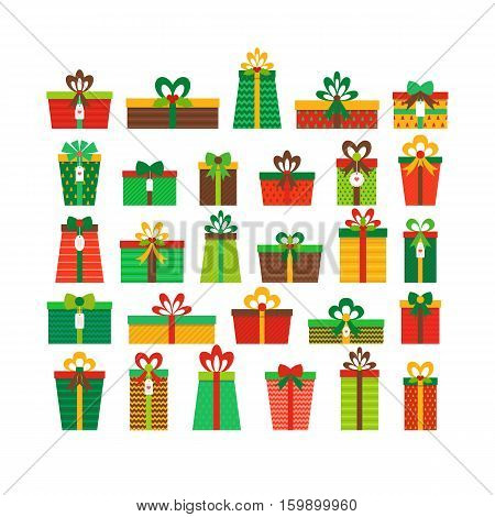 Set Of Different Gift Boxes. Colorful Wrapped Gift Boxes. Flat Design. Christmas Presents