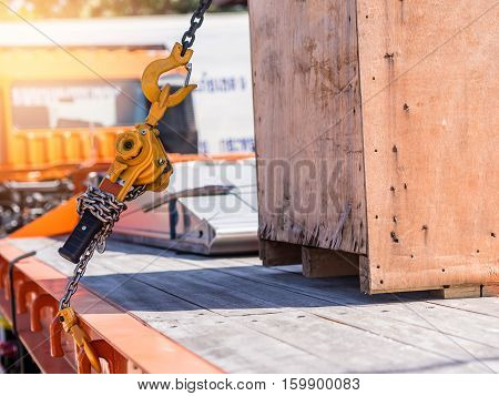 Wooden Box Strap With Hook And Chain On Transport Truck .