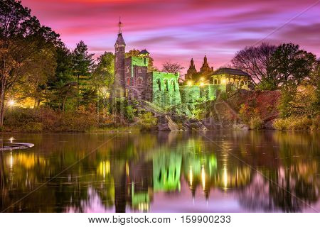 Central Park, New York City at Belvedere Castle during an autumn twilight.