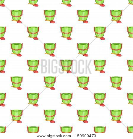 Children bucket with shovel pattern. Cartoon illustration of children bucket with shovel vector pattern for web