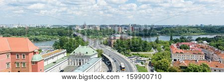Warsaw, Poland - June 16: Warsaw Cityline Panorama Over Vltava River