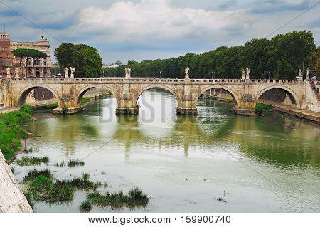 View on Bridge of Saint Angel (Ponte Sant Angelo) Rome Italy