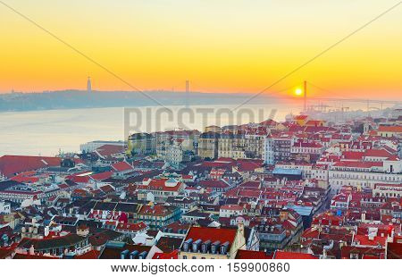 Lisbon aerial view at beautiful sunset. Portugal