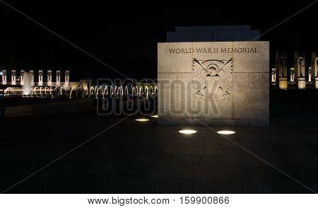 WASHINGTON DC USA - OCTOBER 21 2016: World war 2 memorial washington