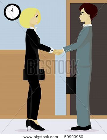Businessman and businesswoman shake hands in hall vector illustration