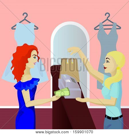 Buyer in shop pays cash vector illustration