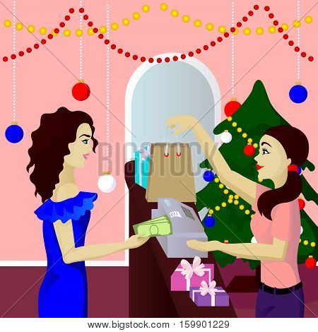 Buyer in shop purchase gifts pays cash vector illustration