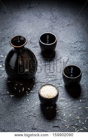 Prepared To Drink Sake In Asian Restaurant On Black Rock