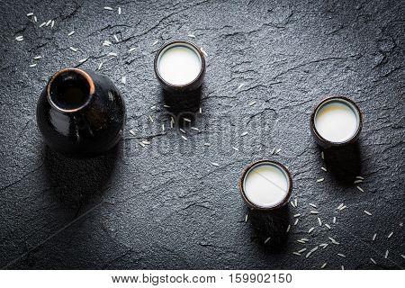 Enjoy Your Sake In Asian Restaurant On Black Rock