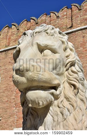 Piraeus Lion an ancient statue at the entrance of Venetian Arsenal poster