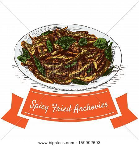 Spicy Fried Anchovies colorful illustration. Vector illustration of Indian cuisine.