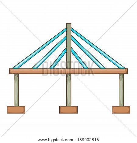 Cable stayed bridge icon. Cartoon illustration of bridge vector icon for web design